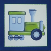Artwork Childrens Room Decor - Travel 2 Rail - Blue and Green Kids Wall Art Canvas